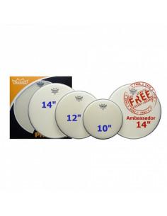 "Remo - Propack (10"", 12"", 14"" Ambassador Coated + Free 14"" Ba-0114-00)"