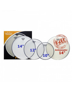 "Remo - Propack (10"", 12"", 14"" Emperor Clear + Free 14"" Ba-0114-00)"