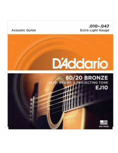 D'addario - EJ10 80/20 Bronze Acoustic Guitar Strings, Extra Light, 10-47