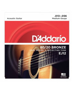 D'addario - EJ12 80/20 Bronze Acoustic Guitar Strings, Medium, 13-56