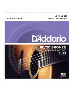 D'addario - EJ13 80/20 Bronze Acoustic Guitar Strings, Custom Light, 11-52