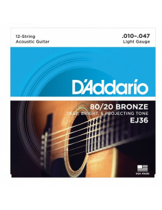 D'addario - EJ36 80/20 12-String Bronze Acoustic Guitar Strings, Light, 10-47