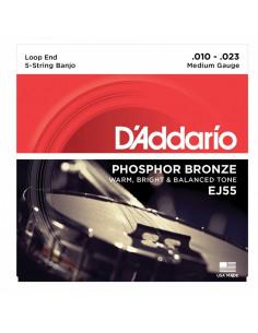 D'addario - EJ55 5-String Banjo, Phosphor Bronze, Medium, 10-23