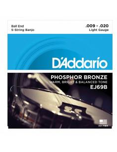 D'addario - EJ69B 5-String Ball-End Banjo, Phosphor Bronze, Light, 9-20