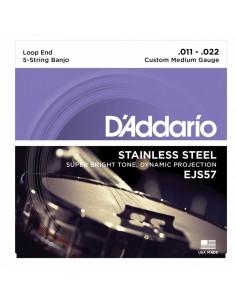 D'addario - EJS57 5-String Banjo, Stainless Steel, Custom Medium, 11-22