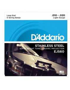 D'addario - EJS60 5-String Banjo, Stainless Steel, Light, 10-20