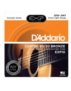 D'addario - EXP10 Coated 80/20 Bronze, Extra Light, 10-47