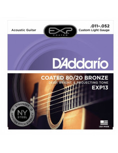 D'addario - EXP13 Coated 80/20 Bronze, Custom Light, 11-52