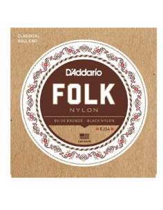 D'Addario,EJ34 Folk Nylon,Ball End,80/20 Bronze/Black Nylon Trebles