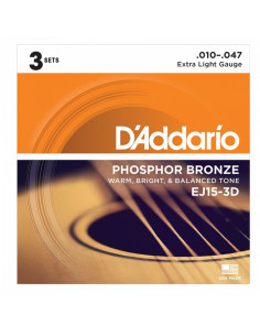 D'addario - EJ15 Phosphor Bronze, Extra Light, 10-47  - Pack 3