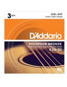 D'addario - EJ15 Phosphor Bronze, Extra Light, 10-47