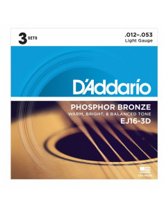 D'addario - EJ16 Phosphor Bronze, Light, 12-53