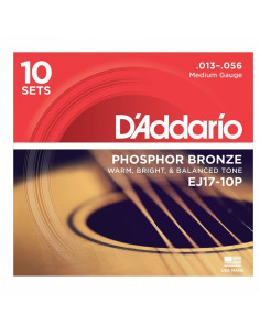 D'addario - EJ17 Phosphor Bronze, Medium, 13-56