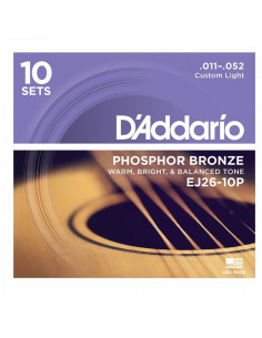 D'addario - EJ26 Phosphor Bronze, Custom Light, 11-52