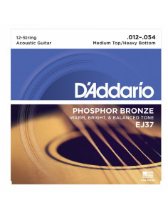 D'addario - EJ37 12-String Phosphor Bronze, Medium Top/Heavy Bottom, 12-54