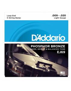 D'addario - EJ69 5-String Banjo, Phosphor Bronze, Light, 9-20