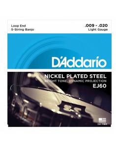 D'addario - EJ60 5-String Banjo, Nickel, Light, 9-20