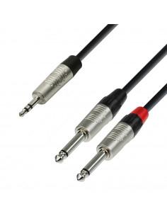 Adam Hall - K4YWPP0150 - Câble Audio REAN Mini-Jack 3,5 mm stéréo vers 2 x Jack 6,35 mm mono 1,5 m