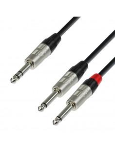 Adam Hall - K4YVPP0600 - Câble Audio REAN Jack 6,35 mm stéréo vers 2 x Jack 6,35 mm mono 6 m