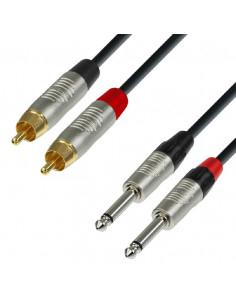 Adam Hall - K4TPC0090 - Câble Audio REAN 2 x RCA mâle vers 2 x Jack 6,35 mm mono 0,9 m