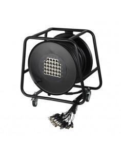 Adam Hall - Cables K 28 C 30 D - Câble multipaire sur enrouleur avec boîtier de scène 24/4 30 m
