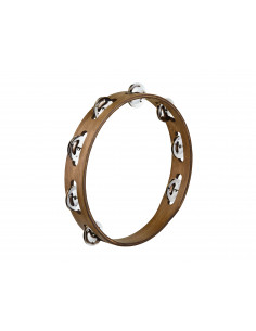 Meinl - Traditional Wood Tambourines, Stainless Steel Jingles Walnut Brown 1 row