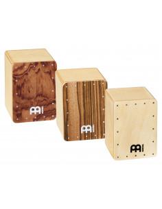 """Meinl,Mini Cajon Shaker Set Exotic Zebrano,Bubinga Burl,Natural 2"""" W x 2 3/4"""" H x 2"""" D"""