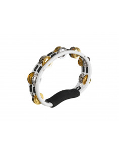 Meinl - Hand Held Recording-Combo ABS Tambourine, Dual-Alloy Jingles White 2 rows