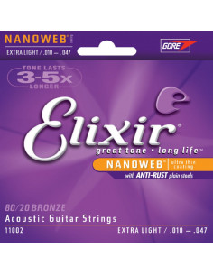 Elixir - Acoustic Guitar Strings Nanoweb Extra Light 80/20 Bronze .010 .014 .023 .030 .039 .047