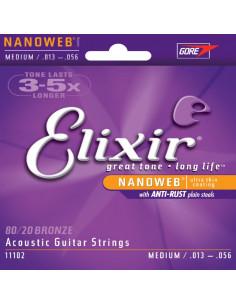 Elixir - Acoustic Guitar Strings Nanoweb Medium 80/20 Bronze .013 .017 .026 .035 .045 .056