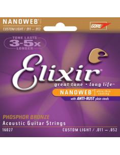 Elixir - Acoustic Guitar Strings Nanoweb Custom Light Phosphor Bronze .011 .015 .022 .032 .042 .052
