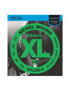 D'addario – EXL220 – Nickel Wound 5-Strings Super Light 40-125