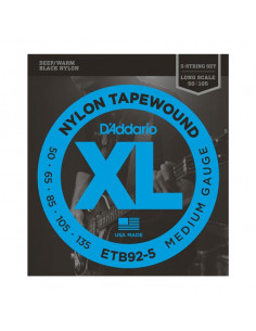 D'addario – ETB92-5 – TapeWound 5-String Bass Medium 50-135
