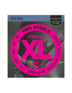 D'addario – EPS170-5 – ProSteels Bass 5-Strings Light 45-130