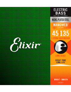 Elixir – 14207 – Nanoweb Nickel Steel 5-Strings Medium 45-135