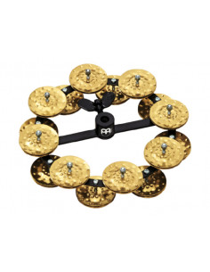 "Meinl,HTHH2B-BK,Headliner ® Series Hihat Tambourine, 2 Row,Hammered Brass,Black,5"""