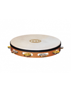 Meinl,TAH1M-SNT,Recording Combo Goatskin Wood Tambourine, Dual-Alloy Jingles,1 Row ,Mixed Nickel Plated Steel/Solid Brass