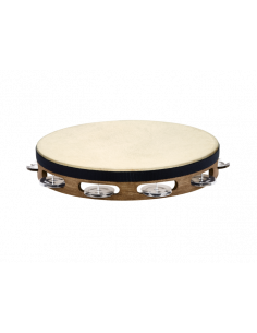 """Meinl,TAH1WB,Traditional Goat Skins Wood Tambourine,Stainless Steel Jingles,1 Row,Stainless Steel,10"""""""