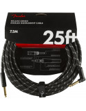 Fender - Deluxe 25' instrument cable Black Tweed Angled