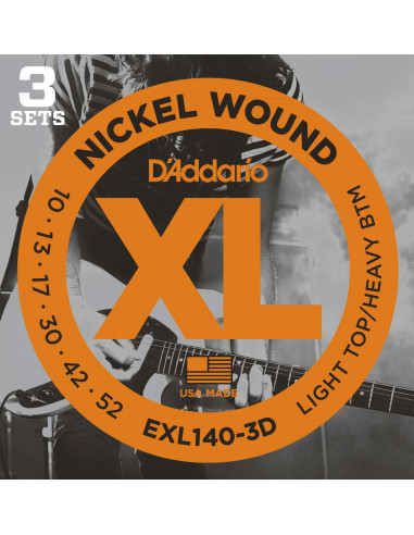 D'Addario,EXL140-3D,Light Top/Heavy Bottom,10-52 3 Jeux