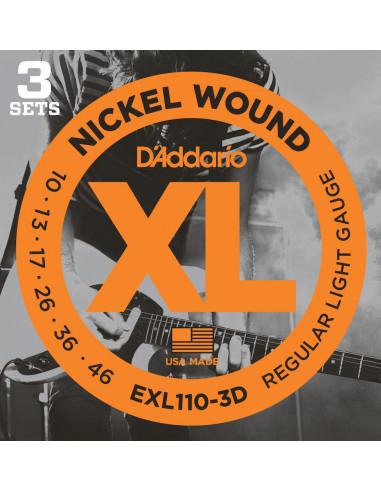 D'Addario,EXL110-3D,Regular Light,10-46 3 Jeux