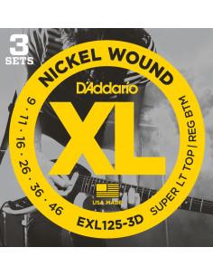 D'Addario,EXL125-3D,Super Light Top/Regular Bottom,9-42 3 Jeux