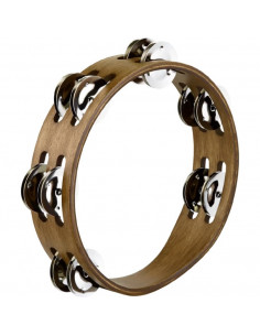 """Meinl,CTA2WB,Compact Wood Tambourine, 2 Rows,Mixed Hammered Nickel Plated Steel/Brass,8"""""""